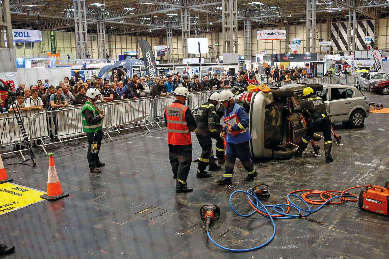 The West Midlands Fire Service Extrication Challenge at The Emergency Services Show in 2018.