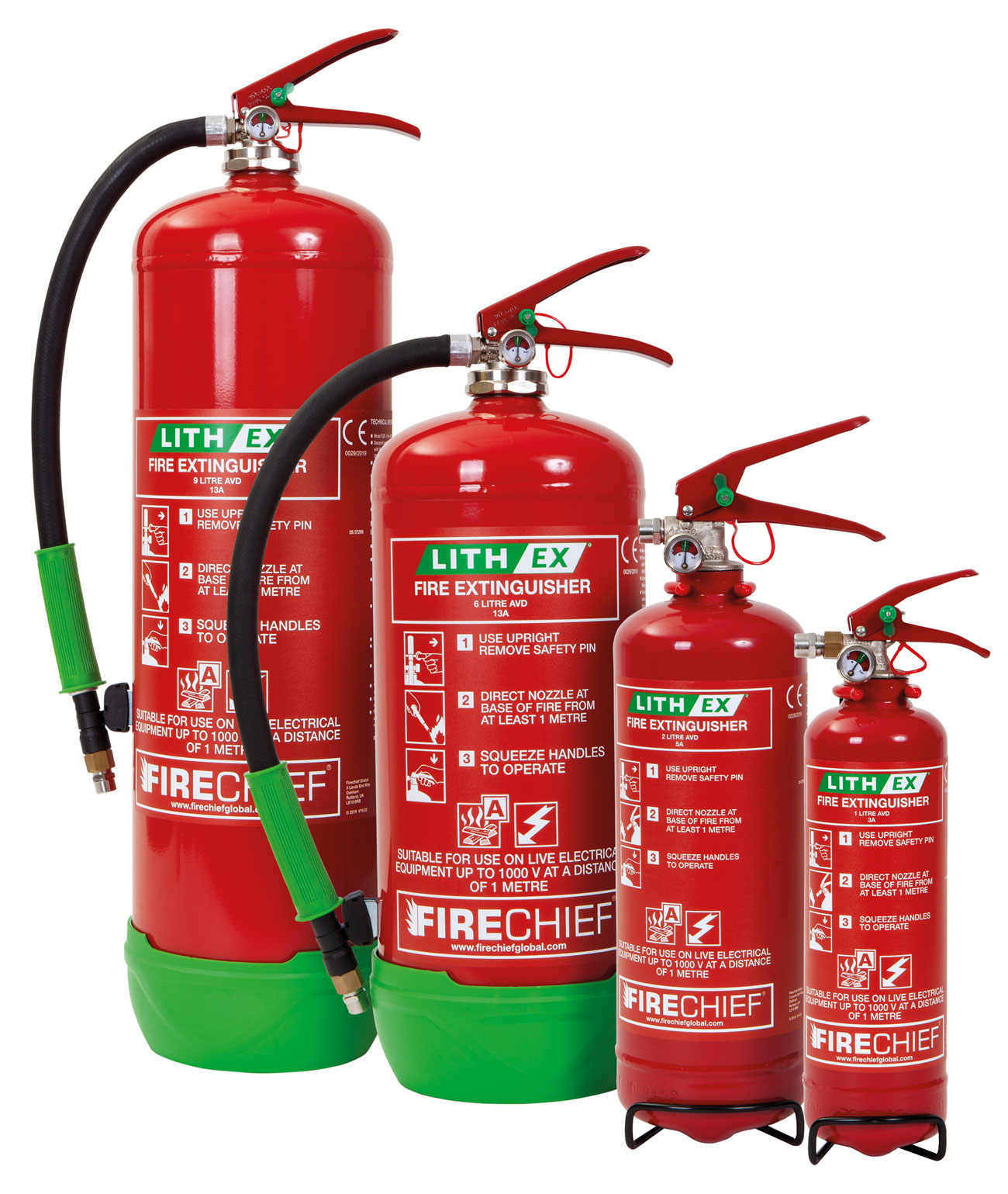 Firechief Lith-Ex range of extinguishers, available in 1, 2, 6 and 9L.
