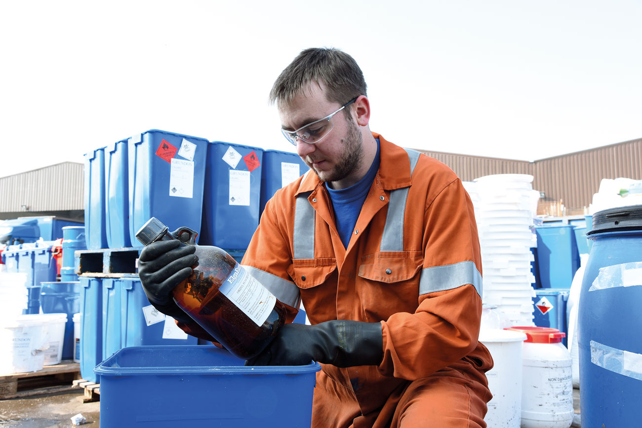 Identification of chemicals by qualified industrial chemists is an essential part of the disposal process.
