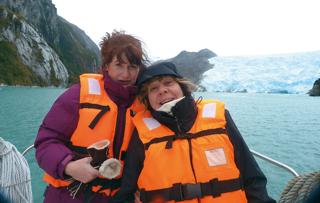These days, Tiggi loves travelling with her friend, Louise. Here the pair are pictured on a small boat near the Antarctic.