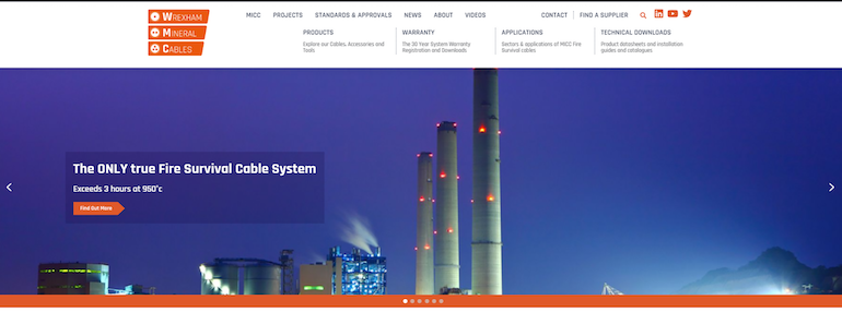 Wrexham Mineral Cables' new website.