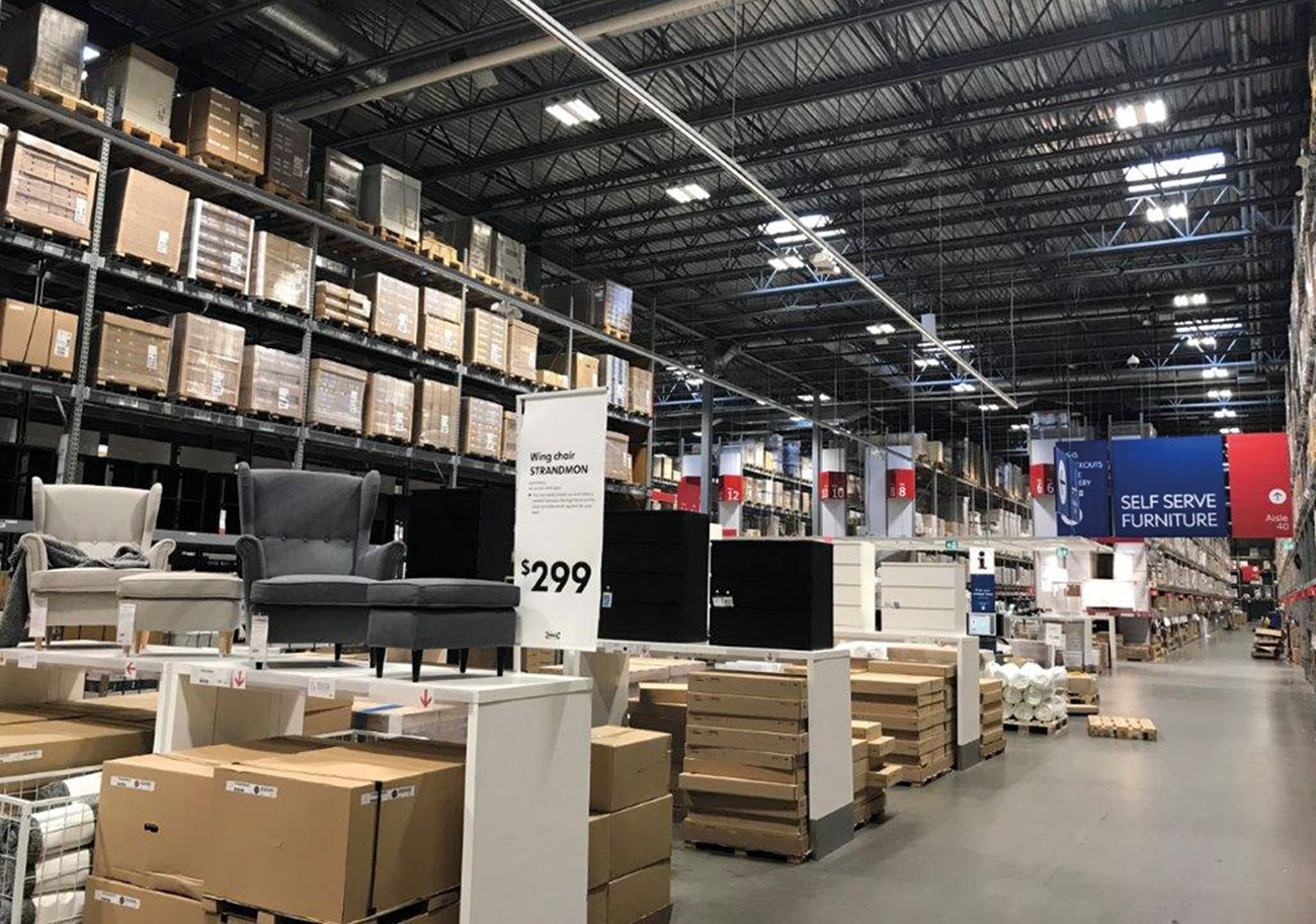 IKEA showroom containing retail traffic as well as high-storage inventory.