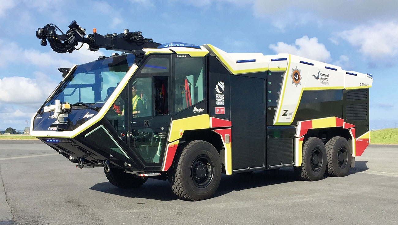 This demonstrator Z-Class Z6 features a 770bhp Scania DC16 Euro 6 V8 diesel engine with an optional rear-steering axle, the Z-Cab AiR crew safety cabin with optional bus-style doors with seating for the driver plus five crew and the optional 20m Z-Attack HRET. It carries 13,500 litres of water, 1,700 litres of foam plus 250kg DCP.