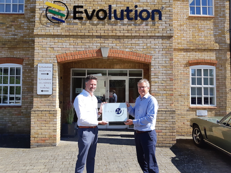 Evolution Managing Director, Richard Lambert (right) receives certified partner plaque from Honeywell Security and Fire Business Manager, Mark Hunter (left). (Evolution)