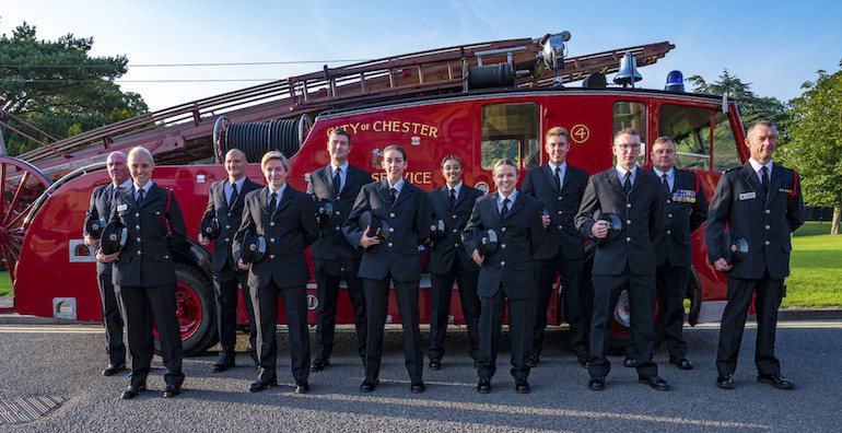 Firefighter and Community Safety Apprentices plus High Potential Development Scheme graduates. (Cheshire FRS)